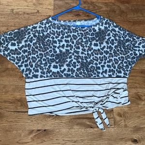 Cheetah and striped pattern blouse